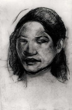 Head of a Tahitian (charcoal on paper) Canvas Print
