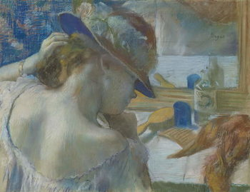 In Front of the Mirror, 1889 (pastel on paper) Canvas Print