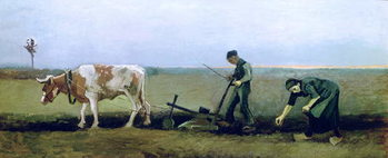 Labourer and Peasant Planting Potatoes, 1884 Canvas Print