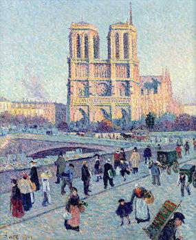Le Quai St. Michel and Notre Dame, 1901 Canvas Print