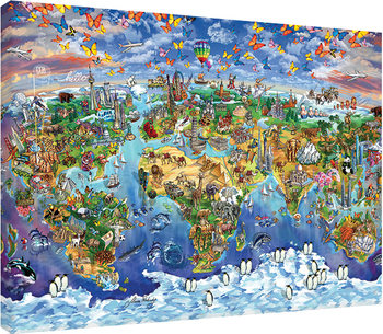 Maria Rabinky - World Wonders map Canvas Print