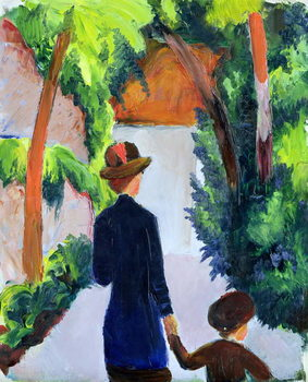 Mother and Child in the Park, 1914 Canvas Print