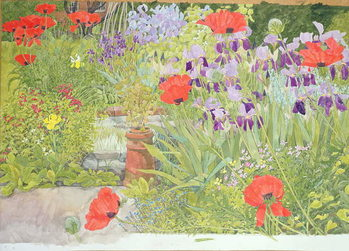 Poppies and Irises near the Pond Canvas Print