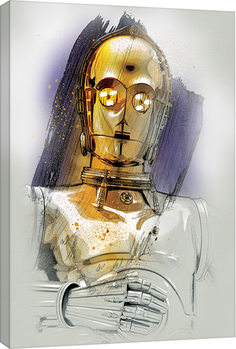 Star Wars The Last Jedi - C-3PO Brushstroke Canvas Print