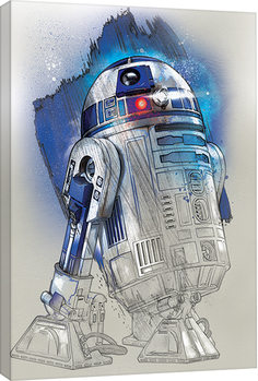 Star Wars The Last Jedi - R2-D2 Brushstroke Canvas Print