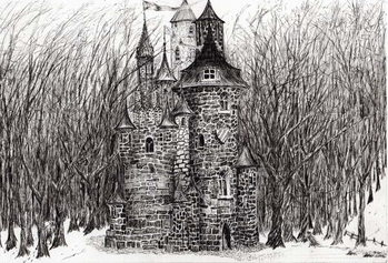 The Castle in the forest of Findhorn, 2006, Canvas Print