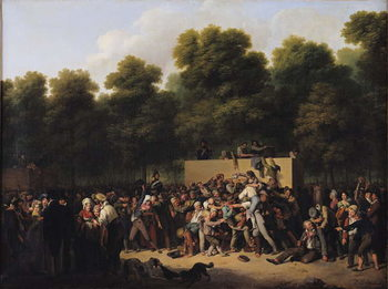 The Distribution of Food and Wine on the Champs-Elysees, 1822 Canvas Print