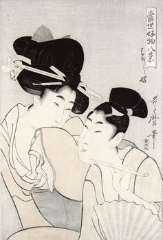 The pleasure of conversation, from the series 'Tosei Kobutsu hakkei' (Eight Modern Behaviours) c.1803 Canvas Print