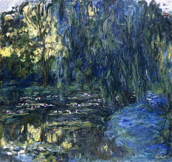 View of the Lilypond with Willow, c.1917-1919 Canvas Print