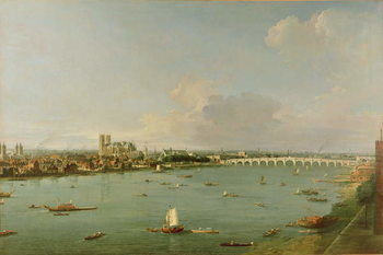 View of the Thames from South of the River Canvas Print