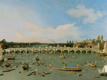 Westminster Bridge, London, With the Lord Mayor's Procession on the Thames Canvas Print