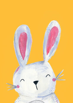 Woodland bunny on mustard Canvas Print