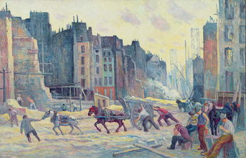 Work in the Rue Reaumur, 1906-08 Canvas Print