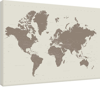World Map - Contemporary Stone Canvas Print