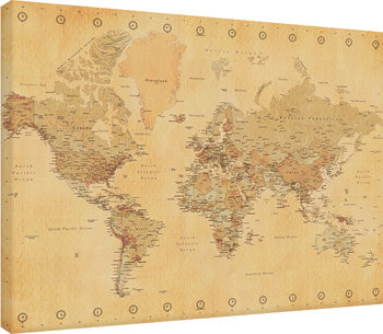 World Map - Vintage Style Canvas Print
