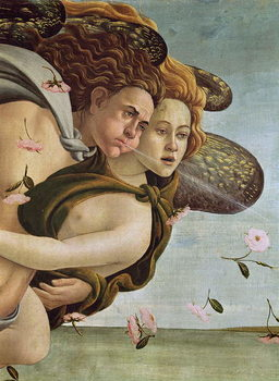 Zephyr and Chloris, detail from The Birth of Venus, c.1485 (tempera on canvas) Canvas Print