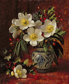 Canvas-taulu AB249 Still Life of Christmas Roses and Holly
