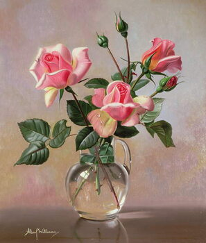 Canvas-taulu AB69 Pink Roses in a Glass Jug