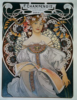 Advertising for the printer-publisher F. Champenois - by Mucha, 1898. Canvas-taulu