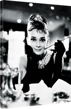 Canvas-taulu Audrey Hepburn - Breakfast at Tiffany's B&W