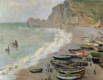 Canvas-taulu Etretat, beach and the Porte d'Amont, 1883