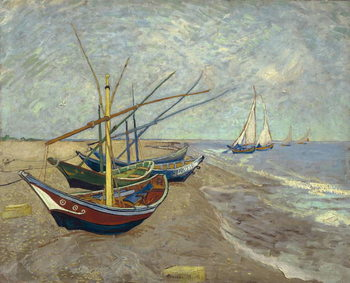 Canvas-taulu Fishing Boats on the Beach at Saintes-Maries-de-la-Mer