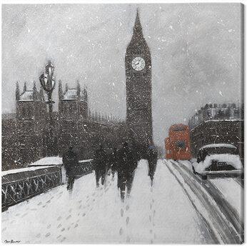 Canvas-taulu Jon Barker - Snow Men, Westminster Bridgeq