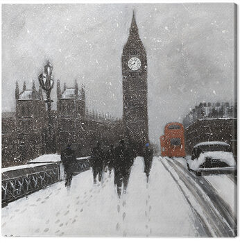 Jon Barker - Snow Men, Westminster Bridgeq Canvas-taulu