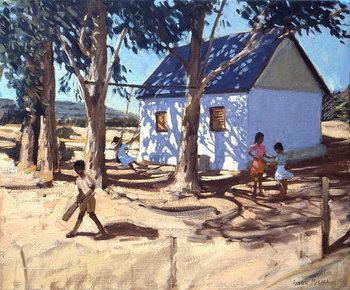 Canvas-taulu Little white house, Karoo, South Africa