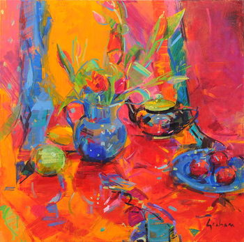 Canvas-taulu Red Tulips and Fruits