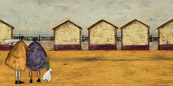 Canvas-taulu Sam Toft - Looking Through The Gap In The Beach Huts