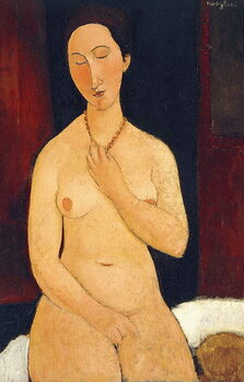 Canvas-taulu Sitting Nude with Necklace