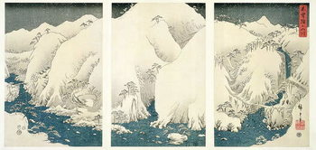 Canvas-taulu Snow storm in the mountains and rivers of Kiso,