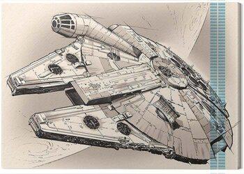 Canvas-taulu Star Wars Episode VII - Millennium Falcon Pencil Art