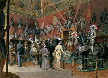 Canvas-taulu The first Armoury Room of the Ambraser Gallery in the Lower Belvedere, 1875