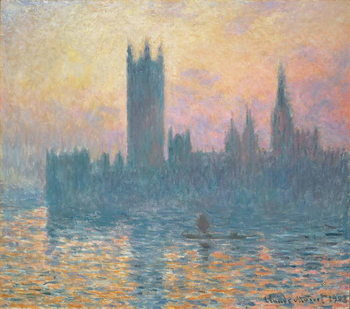 Canvas-taulu The Houses of Parliament, Sunset, 1903