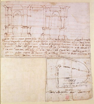 W.23r Architectural sketch with notes Canvas-taulu