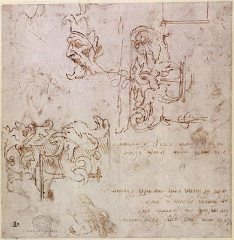 W.3v Roughly sketched designs for furniture and decorations Canvas-taulu