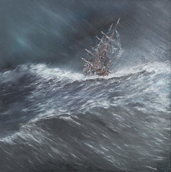 Beagle in a storm off Cape Horn (2) Dec.24th1832, 2014, Canvas-taulu
