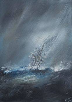 HMS Beagle in Storm off Cape Horn 24th December1832. 2012, Canvas-taulu