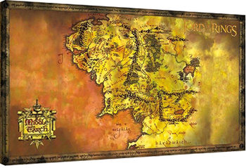 Hobitti & Taru sormusten herrasta - Keskimaan kartta Canvas-taulu