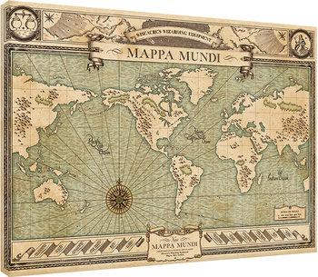 Ihmeotukset ja niiden olinpaikat - Mappa Mundi Canvas-taulu