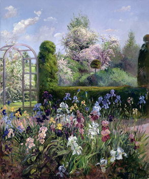 Irises in the Formal Gardens, 1993 Canvas-taulu