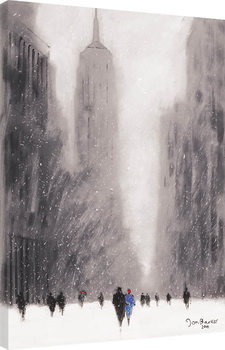Jon Barker - Heavy Snowfall, 5th Avenue, New York Canvas-taulu