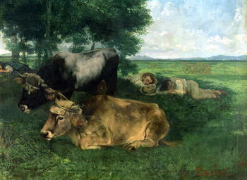La Siesta Pendant la saison des foins (and detail of animals sleeping under a tree), 1867, Canvas-taulu