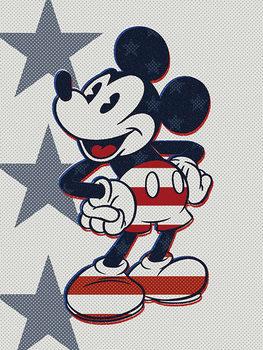 Mikki Hiiri (Mickey Mouse) - Retro Stars n' Stripes Canvas-taulu