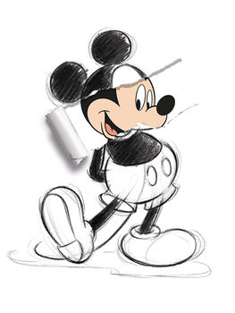 Mikki Hiiri (Mickey Mouse) - Torn Sketch Canvas-taulu