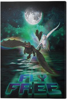 Näin koulutat lohikäärmeesi 3 - Fly Free In The Moonlight Canvas-taulu