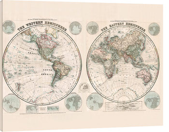 Stanfords Eastern and Western Hemispheres Map - 1877 Canvas-taulu