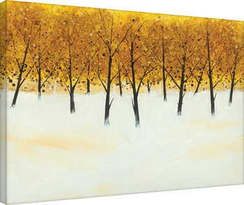 Stuart Roy - Yellow Trees on White Canvas-taulu